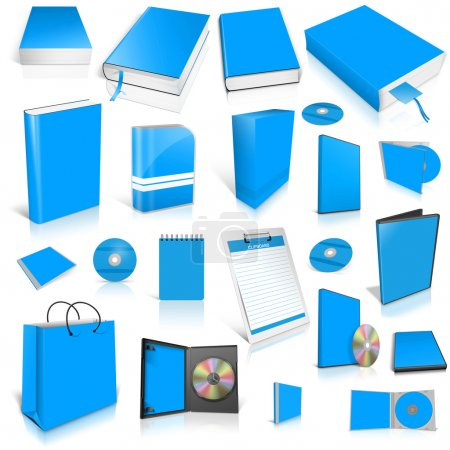 Pale blue 3d blank cover collection.