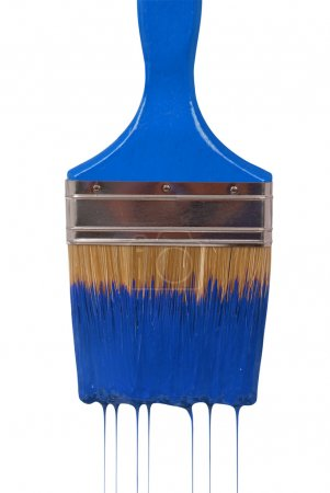 A paintbrush dripping with blue paint