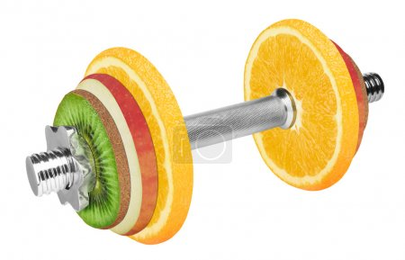 Photo for Fruit dumbbell isolated on white background. With clipping path - Royalty Free Image