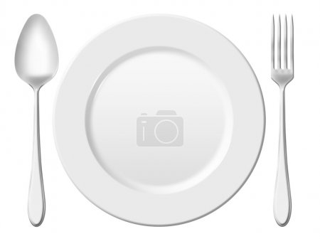 Dinner place setting. A white china plate with silver fork and s