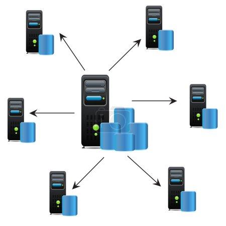 Illustration pour Serveurs connectés avec serveur principal - image libre de droit