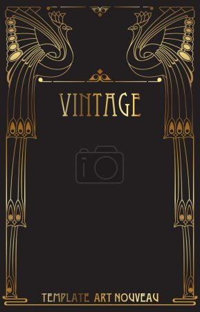 Illustration for Vintage background with bird of happiness - Royalty Free Image