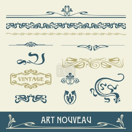 Illustration for Set of vector elements in art nouveau - Royalty Free Image