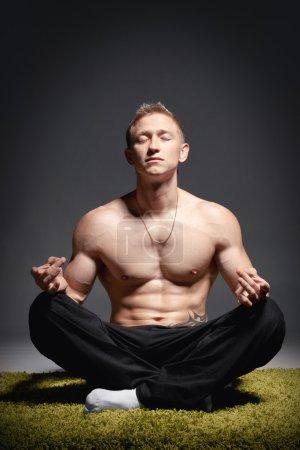 Meditating athlete