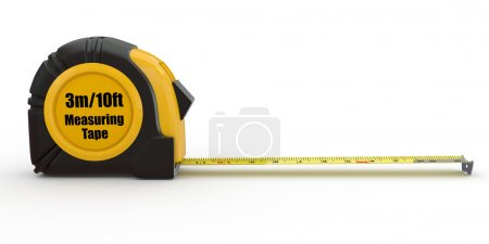 Photo pour Outils. ruban de mesure sur fond blanc. 3D - image libre de droit