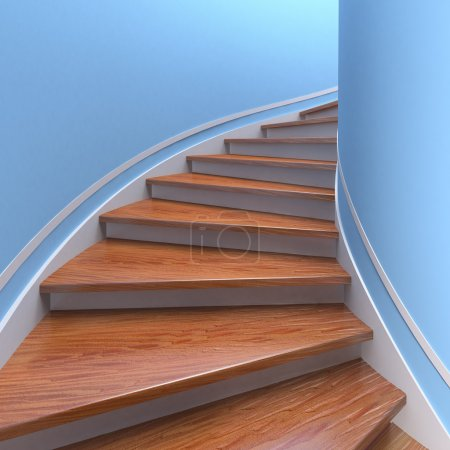 Photo for Way up. Three-dimensional spiral wooden staircases. 3d - Royalty Free Image