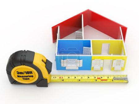 Photo pour Maison mesure bande et résumé en trois dimensions. 3D - image libre de droit