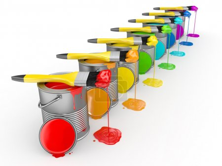 Foto de Lata de pintura y pincel en los colores del arco iris. 3D - Imagen libre de derechos