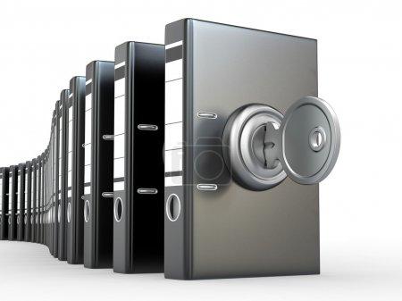 Foto de Seguridad de los datos. protección de la información. carpetas y claves. 3D - Imagen libre de derechos