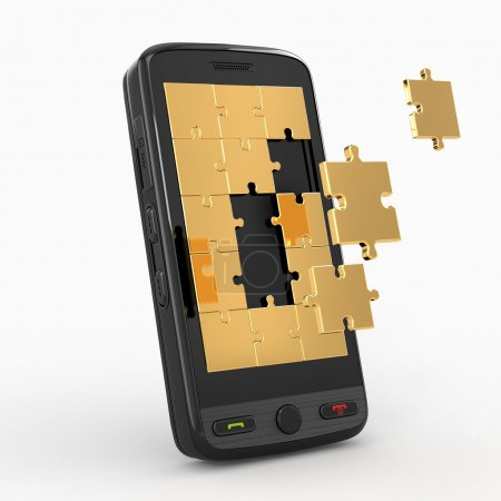 Photo for Mobile phone software. Screen from puzzle. 3d - Royalty Free Image