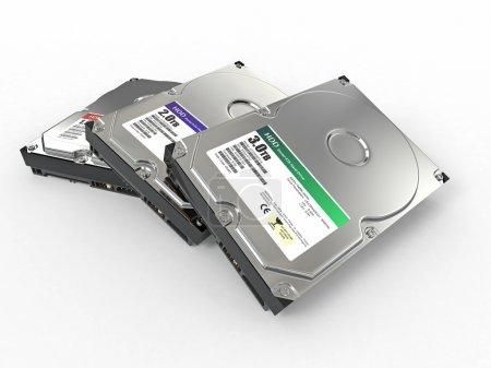 Photo pour Disque dur. trois ata disque dur sur fond blanc. 3D - image libre de droit