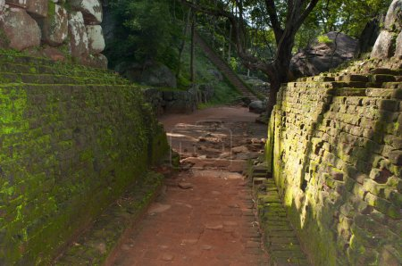 Ancient path and walls in rock fortress and palace