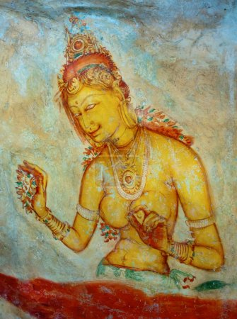 Antique asian fresco with naked