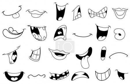 Outlined cartoon mouth set...