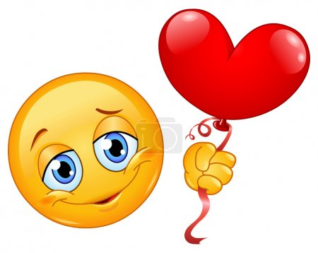 Illustration for Emoticon holding a heart shape balloon - Royalty Free Image