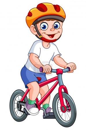 Illustration pour Mignon gosse équitation son vélo - image libre de droit