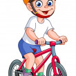 Cute kid riding his bicycle...