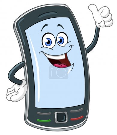 Illustration for Smart phone cartoon with thumb up - Royalty Free Image