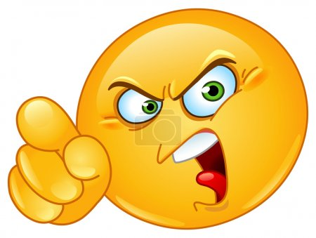 Illustration for Angry emoticon pointing an accusing finger - Royalty Free Image