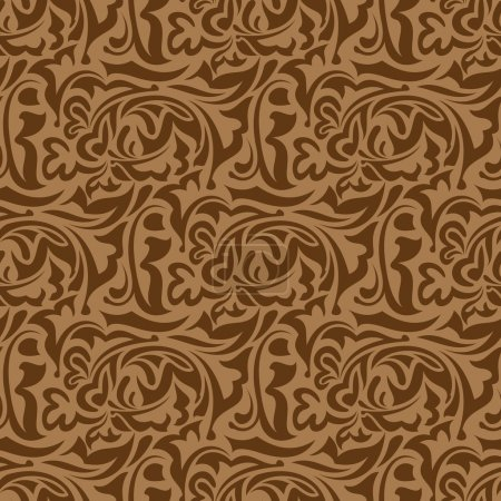 Illustration for Brown seamless wallpaper pattern - Royalty Free Image