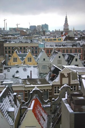 Aerial view of the Amsterdam city during the winter