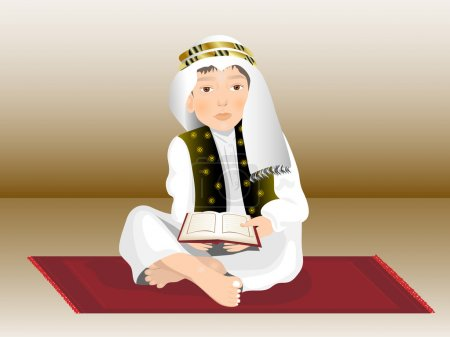 Cute Little boy reads the holy Quran,