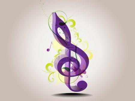 Illustration pour Note de musique triple clef en couleur violette avec effets spéciaux. Illustration vectorielle dans EPS 10 . - image libre de droit