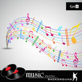 Note and sound waves Musical colorful wave line of music notes background EPS 10 vector illustration
