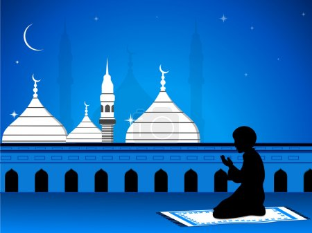 Illustration of eid mubarak card with mosque in night view with