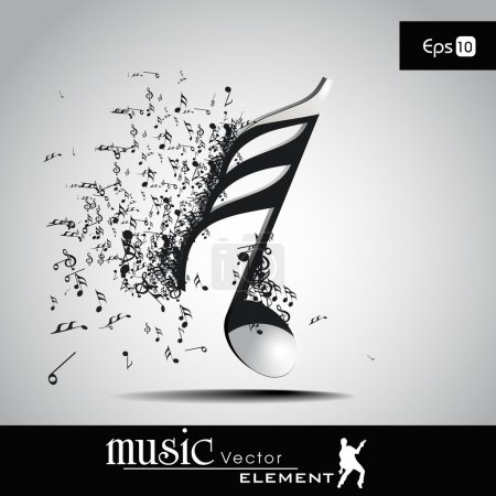 3 D vector illustration of musical node with burst effect. view