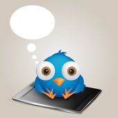 Social network cartoon blue bird thinking sitting over smart phone Vector illustration in EPS 10