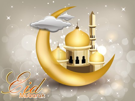 Eid Mubarak text with moon, Mosque or Masjid in golden color