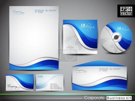 Illustration for Professional corporate identity kit or business kit with artistic, abstract wave effect for your business includes CD Cover, Business Card, Envelope and Letter Head Designs in EPS 10 format. - Royalty Free Image