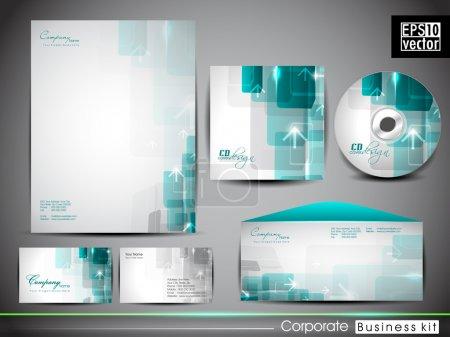 Illustration pour Trousse d'identité professionnelle ou trousse d'affaires avec effet d'onde artistique abstrait pour votre entreprise comprend une couverture de CD, une carte de visite, une enveloppe et des dessins à en-tête de lettre au format EPS 10 . - image libre de droit