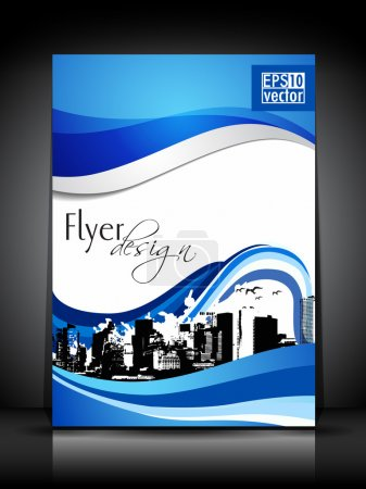 Illustration for Professional business flyer template or corporate brochure design with urban city settings in blue wave background having grungy effect for publishing, print and presentation.EPS 10. - Royalty Free Image