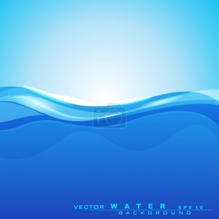 Illustration for Abstract background with water waves and sun light for save water concept and other purpose. can be use as flyer, banner or poster.EPS 10. . - Royalty Free Image
