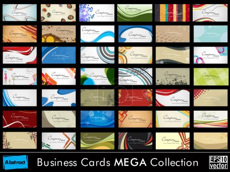 Illustration for Mega collection of 42 abstract professional and designer business cards or visiting cards on different topic, arrange in horizontal. EPS 10. - Royalty Free Image