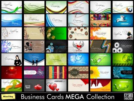 Illustration pour Mega collection de 42 cartes professionnelles abstraites et les cartes de visite de créateurs ou de professionnels sur différents sujets, organiser en horizontal. SPE 10 . - image libre de droit