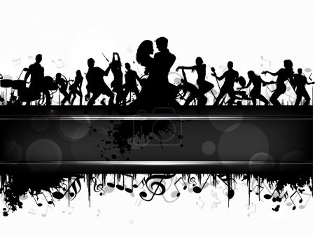 Party banner, flyer or poster with a musical band silhouette on grungy musical notes background. EPS 10. can be use as banner, tag, icon, sticker, flyer or poster.