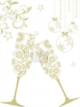 Illustration pour Carte de voeux avec boules de Noël suspendues et verre de champagne sur fond floral, étoiles pour Noël, Nouvel An & autres occasions . - image libre de droit