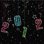 Novoroční přání s předsazením 2012 barevný text. vektorové i
