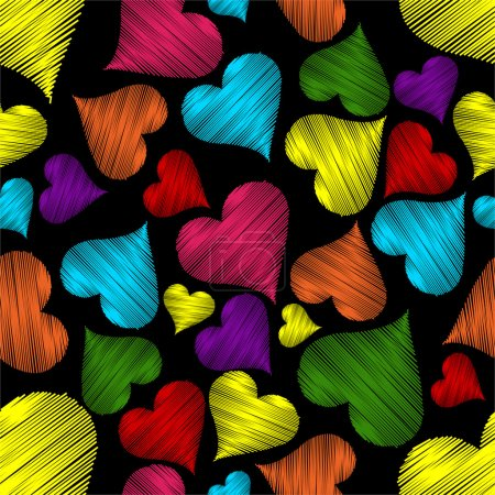 Illustration for Seamless pattern with colorful hearts with line texture on black background for Valentines Day. - Royalty Free Image