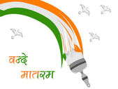 Indian Flag draw with paint colors heaving flying pigeons and text Vande Matram on isolated background for Republic and Independence Day