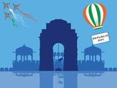 Vector illustration of Republic Day in front of India Gate flying parasuit having a text republic day and helicopter having Indian Flag
