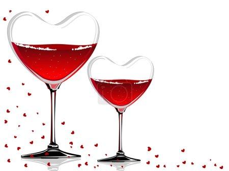 Illustration pour Illustration vectorielle d'un verre à vin en forme de cœur avec du vin rouge sur fond blanc concept pour la Saint-Valentin . - image libre de droit