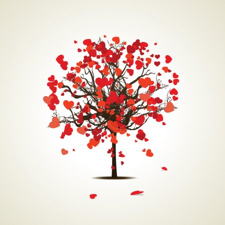 Vector illustration of a love tree on isolated background.