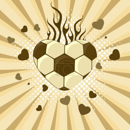 vector illustration of football in the shape of heart