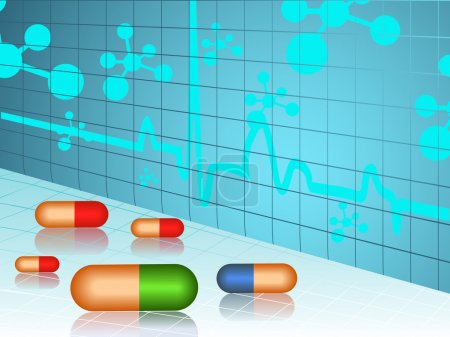 Illustration for Vector illustration of molecule medical background with pills on blue and white. - Royalty Free Image