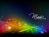 Vector illustration of colorful musical wave background with musical notes