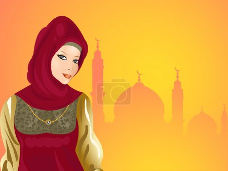Young smiling beautiful muslim girl with seamless mosque backgro